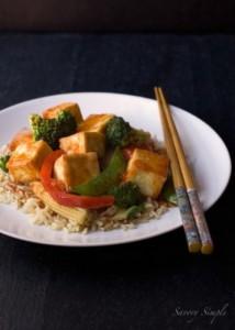 Сладкий и пряный азиатский Тофу